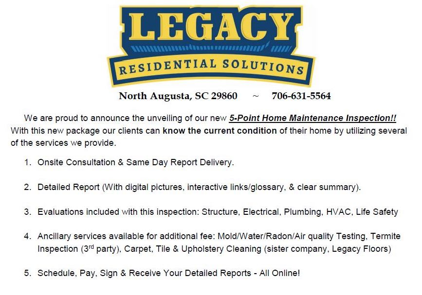 Home Inspections Legacy Residential Solutions